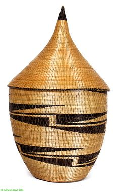 Tutsi Lidded Tight Weave Basket Rwanda African