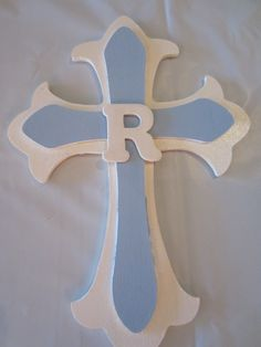 Baptism decor. All found at Hobby Lobby! Buy the crosses and paint them.