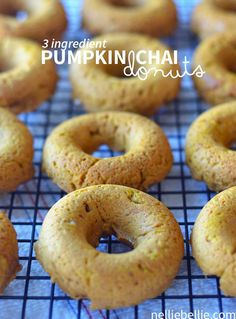 These donuts are fast, easy, and oh so good! Only 3 ingredients to make. www.nelliebellie.com