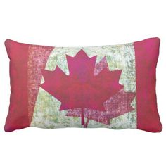 A pillow for the patriotic Canadian featuring a grunge style design of the Canadian flag.