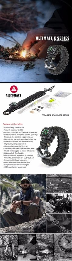 AegisGears Paracord Bracelet X-Series with 19 Piece Outdoor Survival Gear Kit - EDC Everyday Carry Survival Gear Bracelet