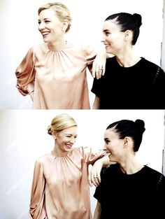 "htgawgay: "" Cate Blanchett and Rooney Mara BTS of the photoshoot in Cannes, 2015 """
