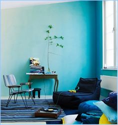 Nice 49 Pretty Ombre Wall Paint Designs Ideas For Living Room. Creative Wall Painting, Creative Walls, Creative Ideas, Diy Painting, Living Room Designs, Living Room Decor, Living Room Turquoise, Room Colors, Wall Colors