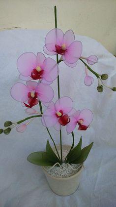 Nylon Flower White Orchid mot
