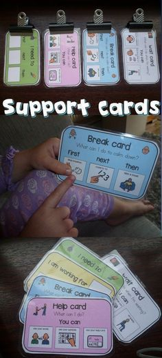 How To Produce Elementary School Much More Enjoyment These Support Cards Have Been A Life Saver In My Classroom Management, Student Can Ask For A Break, Help And Understand When They Need To Wait And What Comes Next. Autism Behavior Management, Classroom Management, Behavior Support, Behavior Plans, Behavior Charts, Autism Support, Autism Classroom, Special Education Classroom, Classroom Decor