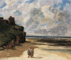 Gustave Courbet. La playa de Saint-Aubin-sur-Mer, 1867. Óleo sobre lienzo, 54 x 65 cm. Colección Carmen Thyssen-Bornemisza en depósito en el Museo Thyssen-Bornemisza, Madrid