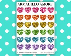 Medium Rainbow Glitter Heart Planner Stickers