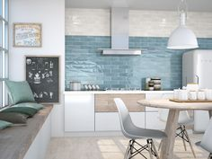 White kitchen wall tiles texture white kitchen tiles large size of small kitchen kitchen wall tiles . Kitchen Wall Tiles, Wall And Floor Tiles, Blue Tiles, White Tiles, Bright Kitchens, Tiles Texture, Küchen Design, Design Ideas, Interior Design