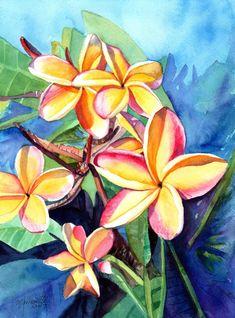 Plumeria Watercolor,  Tropical Flowers, Frangipani Art, Kauai Fine Art, Original Plumeria Paintings,  Hawaiian Flowers, Hawaii Watercolors