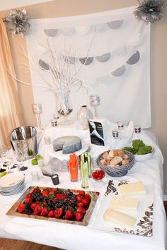 50 Shades of Grey decor - how to make it all...ombre cake, tissue poms, garland, recipes, etc!