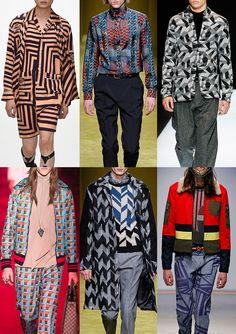 Menswear Autumn/Winter 2016/17 Catwalk Print & Pattern Trend Highlights - Sharp Geos