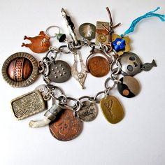 EtsyMetal Charm Swap 13 Bracelet by EtsyMetal on Etsy Jewelry Art, Jewelry Ideas, Gypsy Jewelry, Charm Jewelry, Wire Jewelry, Jewelry Crafts, Antique Jewelry, Vintage Jewelry, Handmade Bracelets