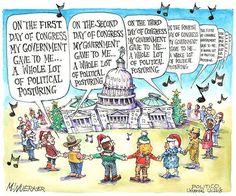 On the first day of Congress my government gave to me... | Cartoon by Matt Wuerker/POLITICO | http://www.politico.com/wuerker/2014/12/december-2014/002108-029905.html #politics