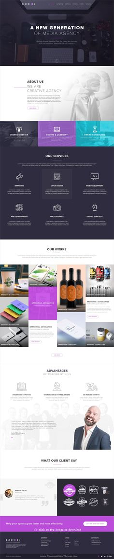 Kasovious is clean and modern design PSD template for creative #business agency website to with 71 layered PSD pages download click on image #webdesign