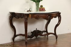 French Rosewood Antique 1870's Hall Console Table, Marble Top - Harp Gallery Antique Furniture