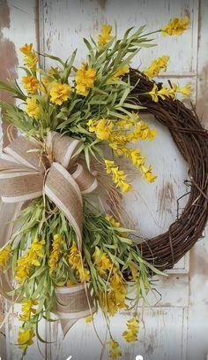 Forsythia, Front door wreath, Best seller, Wreath Great for All Year Round - Everyday Burlap Wreath, Door Wreath, Beautiful wedding wreath by FarmHouseFloraLs on Etsy