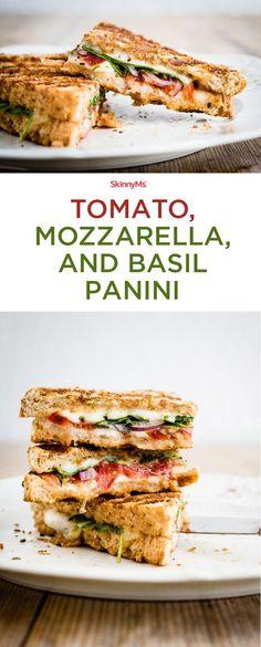 Super delicious, crisp Tomato, Mozzarella, and Basil Panini. Could not recommend this one more.