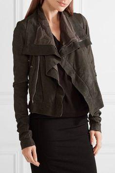 Rick Owens - Brushed-leather Biker Jacket - Charcoal - IT48