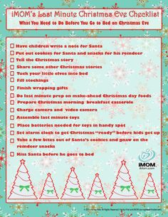 Christmas Eve Checklist | iMOM