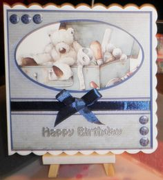 Wellington topper by DoCrafts. candi by Craftwork Cards. Greeting by Craft Creations.