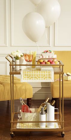 A double-decker bar cart rolls with the punches -- and the cocktails, spritzers, and bubbly, too.