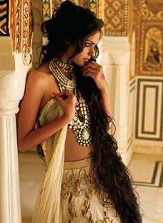 Layered strings of polki makes for a regal look. Editorial photographed by Vishesh Verma. Bridelan