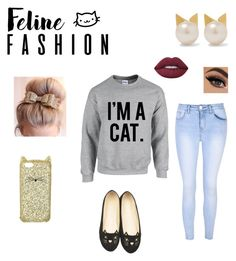 """Cat"" by divadancer23 ❤ liked on Polyvore featuring Aamaya by Priyanka, Kate Spade, Glamorous, WithChic and Lime Crime"