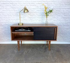 Whitewater Record Cabinet with Pull-out Shelf - Solid Walnut - Ebony Door