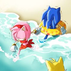 XD YOU GO AMY every one knows sonic hates water that is whats so funny<<<< awwww poor sonic! Let him run free! Sonic Funny, Sonic 3, Sonic And Amy, Sonic Fan Art, Sonic The Hedgehog, Shadow The Hedgehog, Sonamy Comic, Sonic Underground, Rouge The Bat