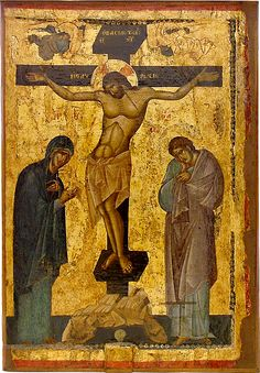 The Crucifixion. A masterpiece of byzantine art. Byzantine Art, Byzantine Icons, Medieval Art, Renaissance Art, Religious Icons, Religious Art, Life Of Christ, Jesus Christ, Russian Icons
