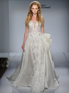 Pnina Tornai lace wedding dress with structured, illusion bodice and satin overskirt from Fall 2016 | https://www.theknot.com/content/pnina-tornai-wedding-dresses-bridal-fashion-week-fall-2016