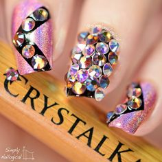 Crystal Bling Nails With The Katana By Simplynailogical Nail Art Rhinestone