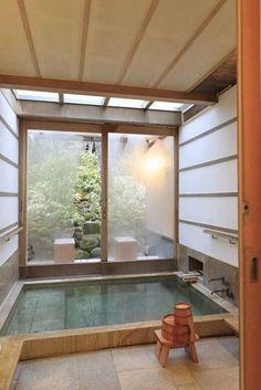 Japanese Bathtub Master Bathroom Interior Design can find Japanese interior design and more on our website. Japanese Style Bathroom, Japanese Bathtub, Japanese Style House, Japanese Bath House, Diy Japanese Interior Design, Japanese Spa, Japanese Apron, Japanese Culture, Minimalist Interior