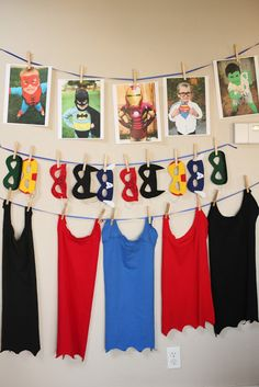 Superhero party decorations... This would also be cute in a little boy's room.