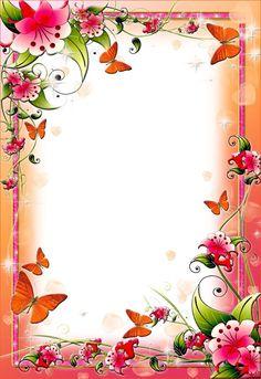 Pink Floral Flower Border Spring flower frames for Photoshop Frame Border Design, Boarder Designs, Page Borders Design, Floral Flowers, Spring Flowers, Tropical Flowers, Printable Border, Printable Labels, Printable Paper