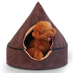 HapiGo 2in1 Premier Washable Mongolia Yurt Round Dog Beds House for Small Breed Dogs and Cats BrownFits for 25 pounds Dogs and Cats * Details can be found by clicking on the image.