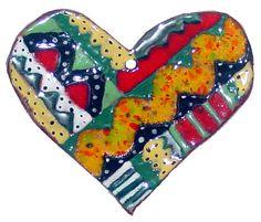 Ceramic Heart Ornament by dancing color ceramics