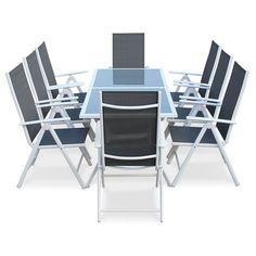 Salon de jardin table en résine tressée noire 5 places Napoli ...