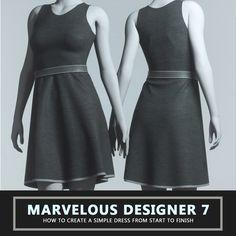 TUTORIAL - Marvelous Designer 7 - How To Create A Simple Dress, Travis Davids on ArtStation at https://www.artstation.com/artwork/XlKm3
