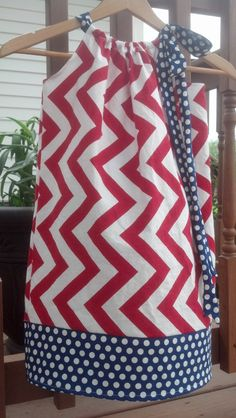 4th-Forth of July cotton chevron and polka dot pillow case style dress with coordinating bow sizes 6m-10y on Etsy, $30.00