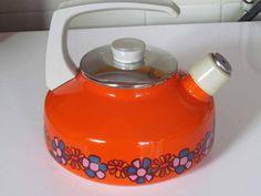 Retro oranje Brabantia fluitketel dessin Diane, seventies