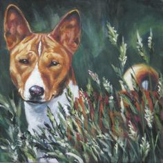Basenji art print CANVAS print of LA Shepard by TheDogLover