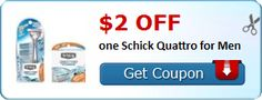 New Coupon!  $2.00 off one Schick Quattro for Men - http://www.stacyssavings.com/new-coupon-2-00-off-one-schick-quattro-for-men-2/