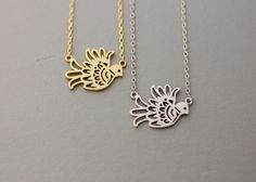 Origami Dove/ Bird  Necklace  -  Available color as listed ( Gold, Silver )
