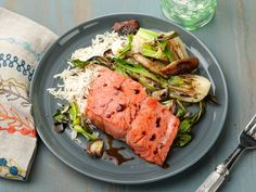 30-Minute Pan-Seared Salmon with Baby Bok Choy and Shiitake Mushrooms : To cut down on the veggie prep, keep the bok choy in big pieces and stack the mushroom caps before slicing. Use leftover rice if you have it on hand, but a fresh batch cooks in well under 30 minutes.
