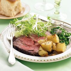 A juicy rib roast and seasoned potatoes cook at the same temperature to help you get this elegant meal on the table faster.