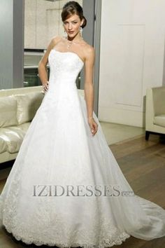 A-Line Strapless Sweetheart Satin Lace Organza A-Line Wedding Dresses