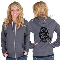 Owl American Apparel Hoodie by rainbowswirlz on Etsy, $40.00