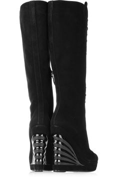 YSL Lace-up suede wedge knee boots