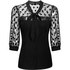 Missmay Women's Polka Dot Mesh Shirt 3/4 Sleeve Tunic Top ($9.99) ❤ liked on Polyvore featuring tops, tunics, three quarter sleeve shirts, three quarter length sleeve shirts, dotted shirts, mesh shirt and polka dot top